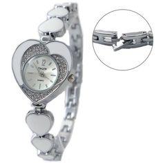 FW899B New Shiny Silver Band Silver Dial Women Crystal Heart Case Bracelet Watch