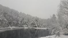 Ridge Pond in a snowstorm