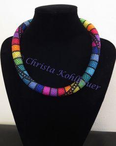 Yellow Czech Glass and Zebra beads crochet wire necklace 30 Crochet Beaded Bracelets, Bead Crochet Rope, Beaded Jewelry, Handmade Jewelry, Beaded Crochet, Jewellery, Wire Necklace, Necklaces, Beaded Lanyards