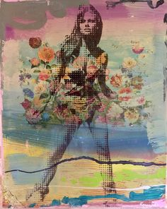 """This original art piece, Raquel Welch 2,  60x48"""" acrylic on canvas is by Austin Artist Karen Salem. Available to purchase or view exclusively at the new Bee Cave Town & Country Leather location. $1200"""