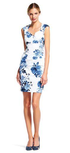 e7926ef0f41 Rose Print Sheath Dress with Origami Neckline