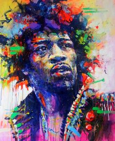 ARTFINDER: Jimi Hendrix by Marta Zawadzka - Large, energetic painting in strong and fluorescent colors. Painting is a way to show the wonder of various aspects of existence, experiencing joy every day,...