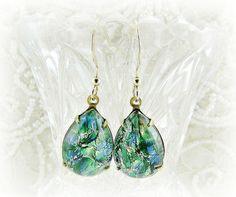 Green Opal Earrings, Fire Opal Earrings, Harlequin Opal Earrings, CZECH Glass, Teardrop Earrings, 14K Gold Filled, Upcycled Vintage Jewelry by RedGarnetStudio on Etsy, $27.00
