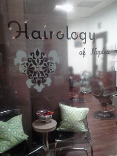Blinged out window decal Salon name sign from vistaprint! Yes we are fabulous!