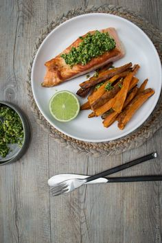 This Crispy Salmon with Coriander Lime Pesto (and sweet potato chips) is a healthy, delicious, nutritionally balanced meal that the whole family will love.