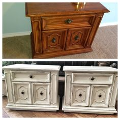 Grandpa's old night stands transformed to shabby chic with Anne Sloan Chalk Paint