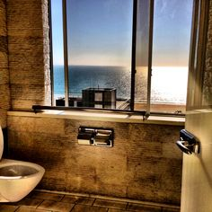 """""""Bathroom with a View"""" - The men's restroom view from The Penthouse Resturant at the Huntley Hotel Santa Monica, CA"""