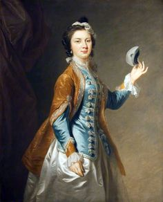 Mrs. Garrick (1724-1822) with a mask, neé Eva Maria Veigel, wife of British actor David Garrick  | Attributed to Johann Zoffany (mid-18th century)