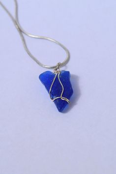 Cobalt Blue Seaglass on Silver Plated Snake Chain by BeachBumsLife