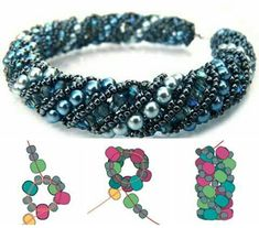 This jewelry making beading pattern will teach you how to make a tubular netted bracelet and tubular netted necklace with pearls by Simple Bead Patterns Netted Bracelet, Beaded Bracelet Patterns, Beading Patterns, Beaded Bracelets, Embroidery Bracelets, Seed Bead Tutorials, Jewelry Making Tutorials, Beading Tutorials, Bijoux Diy