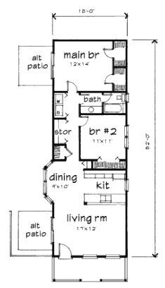 Bungalow Style House Plan 72773 with 2 Bed, 1 Bath First Floor Plan of Bungalow House Plan 72773 Small House Floor Plans, Cottage Floor Plans, Cabin Floor Plans, Bungalow House Plans, Cottage Plan, Modern House Plans, Cottage House, The Plan, How To Plan