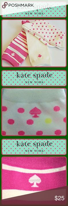 🆕Kate Spade Trouser Socks 3 Pair You're going to love these Kate Spade Crew Socks! A sweet treat for your feet, and sure to make you smile. 3 pair in the package.   🎀1st Pair is White, with Pink polka dots.  🎀2nd pair is solid White adorned with a Pink ♠️.  🎀3rd pair is Pink with random White stripes.   ♠️Cotton, Polyester and Spandex ♠️Fits shoe size 4-10 ♠️Machine wash cold   Price is firm unless bundled. kate spade Accessories Hosiery & Socks