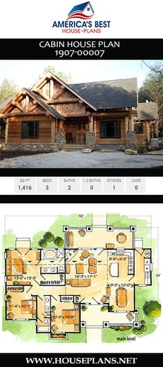 Plan is ideal for a mountaintop view! This Cabin home design details sq., 3 bedrooms, 2 bathrooms, an extra nook, and an open floor concept on a single-story layout. Cabin House Plans, Best House Plans, Open Floor Concept, Cottage Plan, Lodge Style, Cabins And Cottages, Cabin Homes, Modern Architecture, Nook