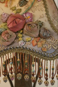 Silk Roses & Beaded Fringe Detail... Recovered Beaded Shade on Victorian Lamp...