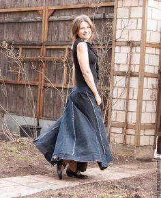 """Купить Джинсовая юбка """"Woodstock-22"""" - разноцветный, однотонный, светлана гаридова, элегантность, элегия"""