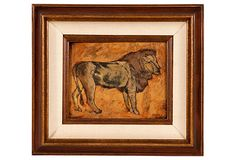 """Pastel drawing of a lion. Signed """"Osgood,"""" lower right. Image, 9.5""""W x 7.5""""H."""