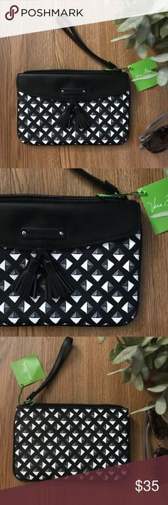 Vera Bradley Clutch Black and white tassel clutch by Vera Bradley  Faux leather zipper pocket inside. So cute!  NWT  *smoke free and pet free home* Vera Bradley Bags Clutches & Wristlets