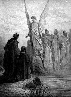 Purgatorio, Canto II, Bij dageraad op Paaszondag, hebben Dante en Virgil net de hel verlaten, en zijn er getuige van, dat door een engel een nieuwe groep zielen naar de oever van het vagevuur worden gebracht,  onder wie Dante´s jeugdvriend Casella.
