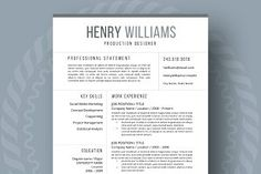 Resume Template for Word, 3 page ~ Resume Templates ~ Creative Market Simple Resume Template, Creative Resume Templates, Cover Letter Template, Letter Templates, Cover Letters, Social Media Marketing Jobs, Resume Design, Cv Design, Resume Format