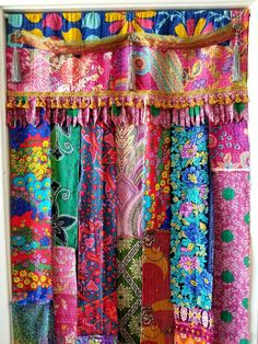 Boho curtain bohemian decor kantha curtain tassel beaded hippiewild room divider closet curtain door panel saree ribbon walk thru fringe – 2019 - Curtains Diy Curtains For Closet Doors, Gold Curtains, Drop Cloth Curtains, Diy Curtains, Curtain Door, Beaded Curtains, Hippie Curtains, Patchwork Curtains, Diy Old Books