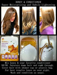 Another mask for hair lightning: Mix honey and your favorite conditioner 50/50. Staurate damp hair and comb through. Cover hair with shower cap or plastic bag. For best results leave on over night. Wash and condition as usual. Publié par Nora à 2