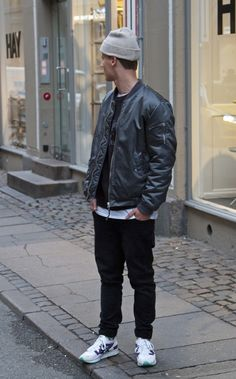 Clean. Street Style. Youth. Trend. Modern. Autumn. Rough. Cap. Slim. Sneakers. Bomber Jacket. Details. Zippers. Black & White. Men. Fashion. Clothing. Outfit. Swedish. Vintage.