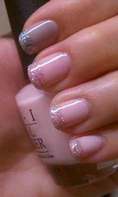 Nails - Pink with Silver Glitter on Tips