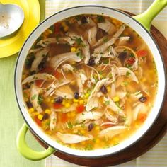 Fiesta Turkey Tortilla Soup Recipe from Taste of Home -- shared by Amy McFadden of Chelsea, Alabama I can eat tortilla soup any time of day/year. Crockpot Recipes, Soup Recipes, Dinner Recipes, Cooking Recipes, Leftover Turkey Recipes, Leftovers Recipes, Turkey Tortilla Soup Recipe, Soup And Sandwich, Thanksgiving Recipes