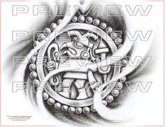 amazing aztec eagle warrior tattoo design