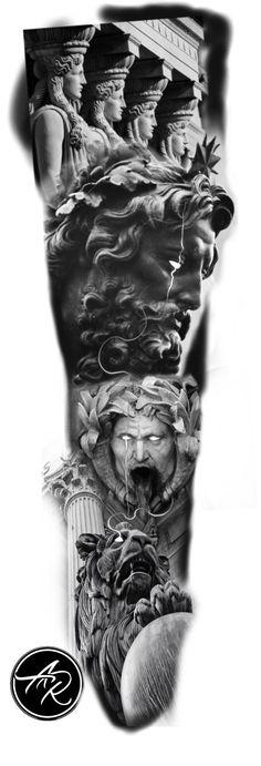 Zeus Tattoo, Statue Tattoo, Poseidon Tattoo, Dark Tattoo, Arm Sleeve Tattoos, Full Sleeve Tattoos, Jesus Tattoo Sleeve, Cool Tattoos Pictures, Archangel Tattoo