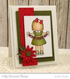 Merry Christmas. Stamps: Pure Innocence Christmas Banner, Fine Chevron Background, Snowfall Background (MFT)  Paper: Sweet Tooth, Jellybean Green, Red Hot, X-Press It Blending Card (MFT)  Paper Size: A2  Ink: Black Licorice Hybrid, Red Hot, Jellybean Green (MFT)  Accessories: Die-namics Upsy Daisy, Stitched Rectangle STAX, Horizontal Stitched Strips (MFT), Sequins (Avery Elle), Foam Tape.  Read more: http://www.splitcoaststampers.com/gallery/photo/2569737#ixzz3sXSYJMxk