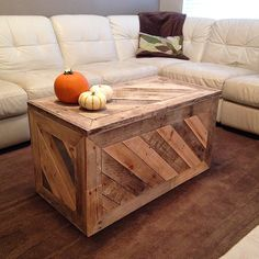 Toy chest/coffee table made from reclaimed wood.