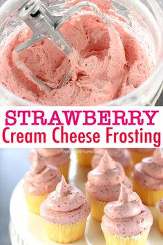 Strawberry Cream Cheese Frosting ~ thick, silky, and bursting with strawberry flavor thanks to a special SECRET INGREDIENT! Gourmet Recipes, Baking Recipes, Cake Recipes, Dessert Recipes, Cake Filling Recipes, Cake Frosting Recipe, Homemade Frosting, Cupcakes, Cupcake Cakes