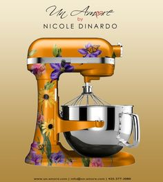 I want my own custom painted Kitchen Aid! This is so fun! Either flowers or a snow/ski theme.