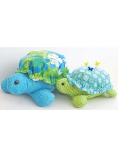 These sweet turtles both have detachable half-shells, which allow you to be creative and decorate with your own patchwork or quilting design. You can try using a leftover block from another project. Turtles Sewing Pattern (aff link)