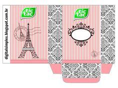 Festa de Aniversário Paris com cone para guloseimas Paris, convite Pari5s, rótulo para Guaraná Caçulinha, rótulo Chocolate Baton, livrinho para colorir..