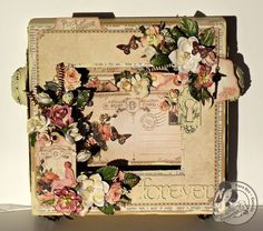 @Tara Harmon Harmon Orr made this beautiful altered 8x8 Matchbook Box using Place in Time. So gorgeous with the color palette and lovely flowers! #graphic45 #DIY