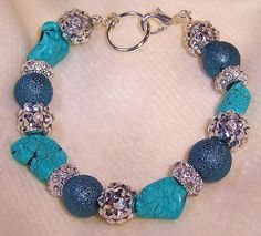 Chunky Bracelet with Turquoise nuggets, teal pearls and crystals  $39.99