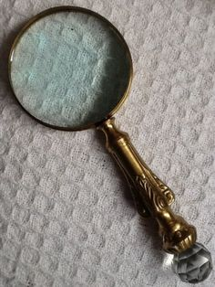 Antique Brass Crystal Magnifying Glass Prism Gem Jewel Handle