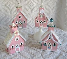 SaturdayFinds - Vintage-Inspired Gifts, Timeless Treasures and More!: Sweet Vintage Pink Christmas Houses