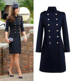 Kate Middleton Double Breasted Coat with Epaulettes