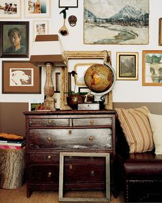 16 Home Decor Ideas For Fall | Domino Two Tone Walls, Autumn Interior, Masculine Interior, Dresser As Nightstand, Dresser Styling, Dressers, Home And Deco, Eclectic Decor, Eclectic Artwork