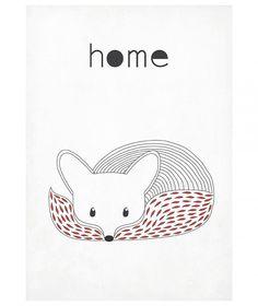 Plakat skandynawski A3, minimalizm, lis, design