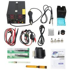 Saike 909D+ Rework Soldering Station + Hot Air Gun + DC Power Supply 3 in 1 Multi-function Set with full Accessories Sale - Banggood.com