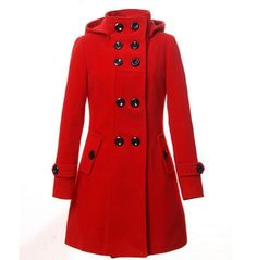 Women's Winter Wool Double Breasted Peacoat Hooded Detachable Cap Trench Coat