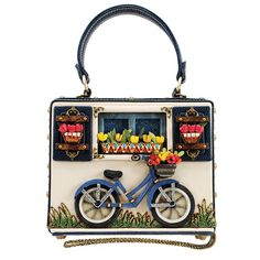 Mary Frances Ride On Beaded Bicycle Novelty Top Handle bag Bike Blue Bag New Cheap Purses, Unique Purses, Cute Purses, Unique Handbags, Luxury Handbags, Mary Frances Purses, Mary Frances Handbags, Handbags On Sale, Tote Handbags