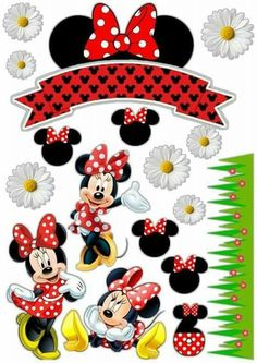 Topo de bolo minnie Minnie Mouse Birthday Decorations, Minnie Mouse Theme Party, Mickey Mouse Birthday, Mouse Parties, Bolo Minnie, Mickey Minnie Mouse, Disney Scrapbook, Scrapbooking, Mickey Mouse Images