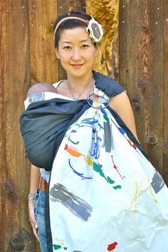 FREE SHIPPING. Baby Ring. Sling Baby Carrier. Reversible Sling. 2 Lyrs of High Quality 100% Cotton -Pure Abstract- Baby Carrier With DVD