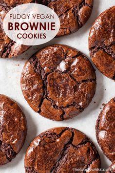 Fudgy Vegan Chocolate Brownie Cookies - The Loopy Whisk Easy Vegan Cookies, Dairy Free Cookies, Easy Cookie Recipes, No Egg Cookies, Vegan Chocolate Brownies, Chocolate Desserts, Chocolate Chip Cookies, Fudge Brownies, Vegan Dessert Recipes