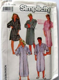 Unisex Plus Size Nightshirts Simplicity 7818, Sizes 38 and 40 chest/bust size, Short Nightshirt Pattern, Long Nightshirt Pattern, Uncut by OnceUponAnHeirloom on Etsy